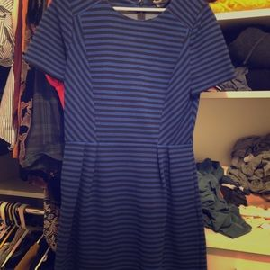 Madewell blue and black striped dress